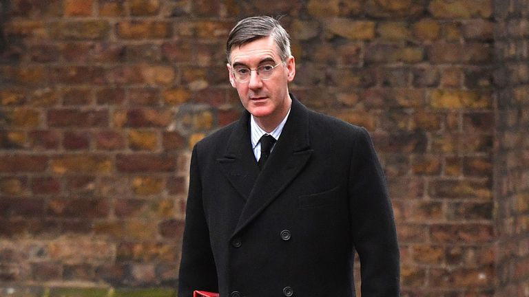 Britain's Leader of the House of Commons Jacob Rees-Mogg arrives in Downing Street in central London on January 14, 2020 for a meeting of the cabinet. (Photo by JUSTIN TALLIS / AFP) (Photo by JUSTIN TALLIS/AFP via Getty Images)