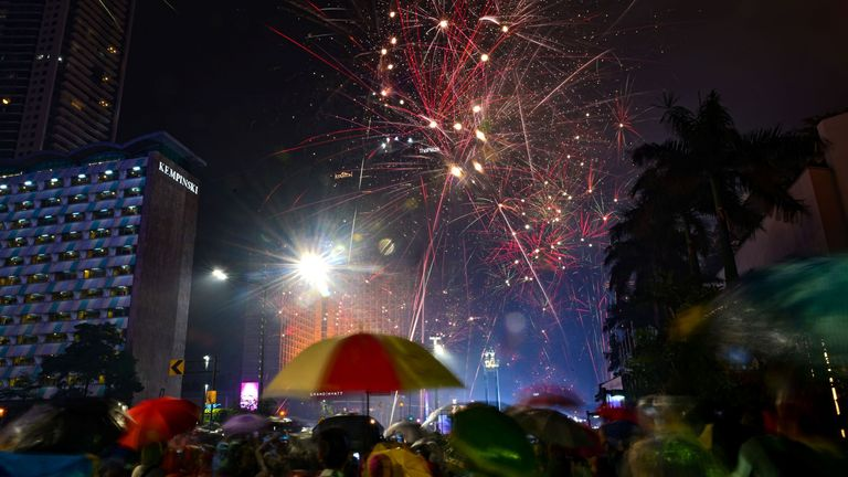 Thousands braved the rain in Indonesia