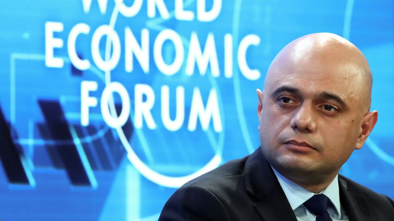 Britain's Chancellor of the Exchequer Sajid Javid attends a session during the 50th World Economic Forum (WEF) annual meeting in Davos, Switzerland