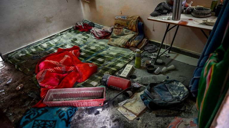 A room on the campus after the attack