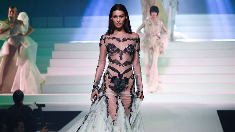 Bella Hadid walks the runway during the Jean-Paul Gaultier Haute Couture Spring/Summer 2020 show as part of Paris Fashion Week at Theatre Du Chatelet on January 22, 2020 in Paris, France
