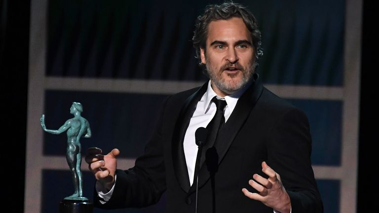 Joaquin Phoenix was presented the best actor award by Glenn Close