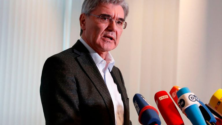 Joe Kaeser, CEO of German industrial behemoth Siemens, gives a statement following a meeting with a leading member of the German branch of the Fridays for Future youth movement on January 10, 2020 in Berlin.