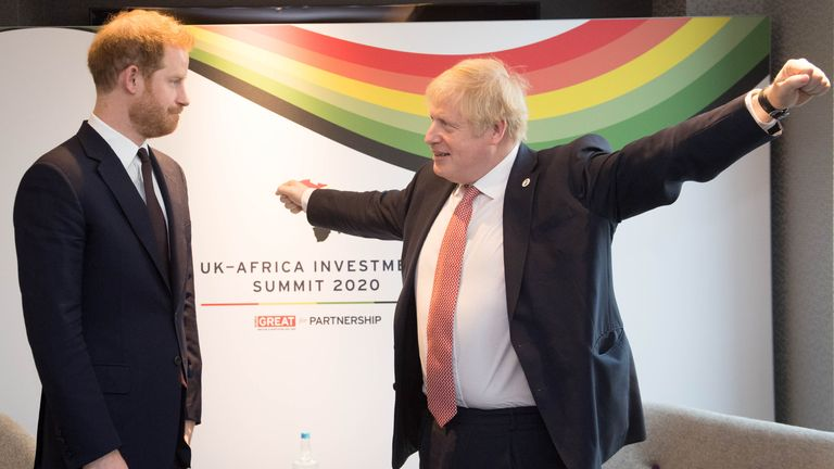 The Duke of Sussex (left) with Prime Minister Boris Johnson, as they attend the UK-Africa Investment Summit at the Intercontinental Hotel London.
