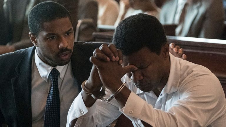 Michael B Jordan as Bryan Stevenson and Jamie Foxx as Walter McMillian in Just Mercy. Pic: Warner Bros Entertainment Inc