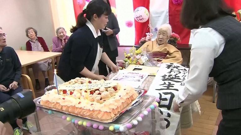 Ms Tanaka had a cake fit for the occasion as she marked her 117th birthday