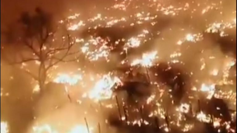 A huge blaze tore through tented homes near the Teen Hatti area in Karachi, but there have been no reports of loss of life