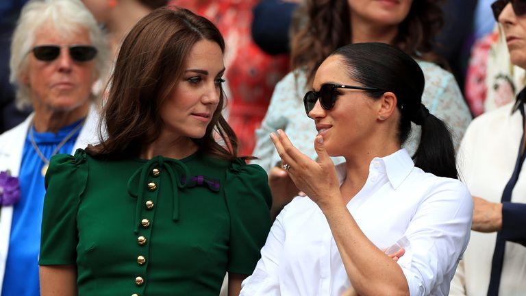 Kate and Meghan pictured at the Wimbledon Championships in July, 2019