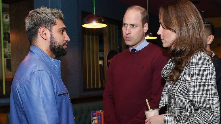 The royals met the boxer Amir Khan during a visit to a restaurant