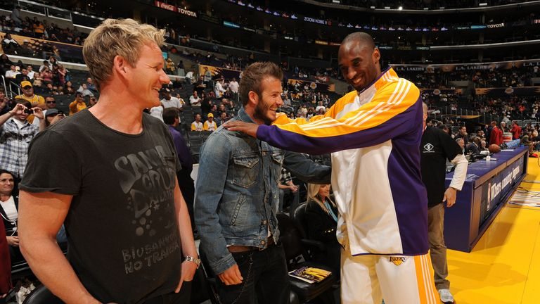 David Beckham and Gordon Ramsay meet Bryant at a Lakers game in 2010