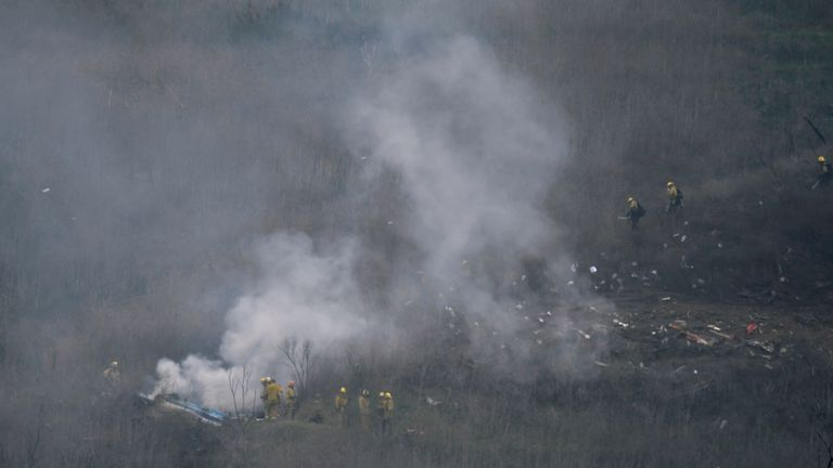 LA county firefighters on the scene of the crash in Calabasas, California