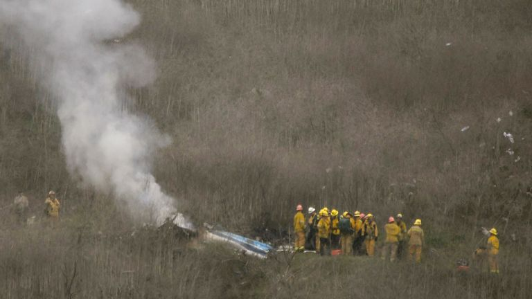 Authorities say the helicopter came down in a remote field off Las Virgenes around 10am (local) on Sunday