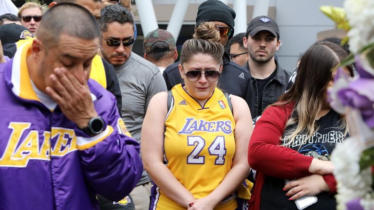 Fans have flocked to the Staples Center in Los Angeles to pay their respects