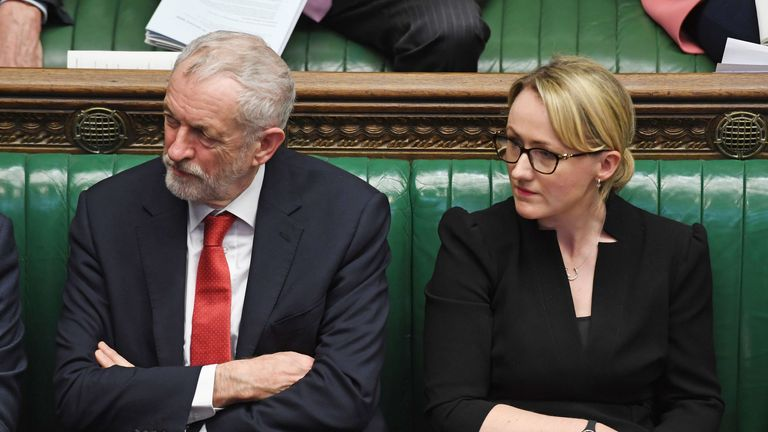 Jeremy Corbyn and Rebecca Long-Bailey during Prime Minister's Questions