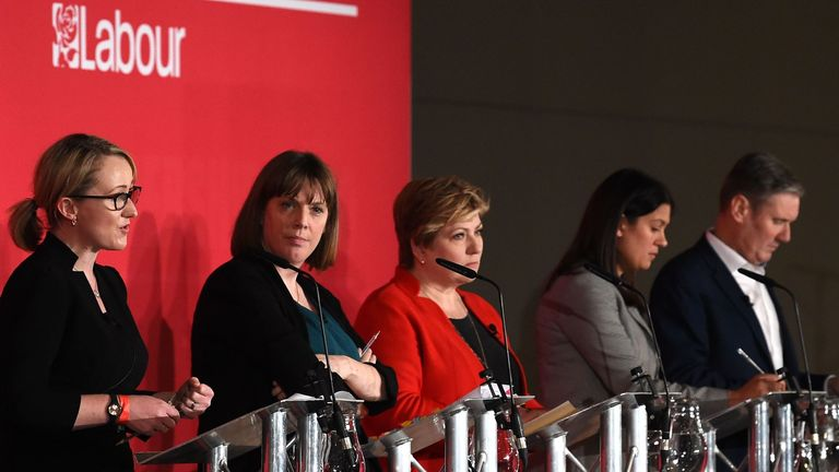 British Labour leadership candidates, Rebecca Long-Bailey, Jess Phillips, Emily Thornberry, Lisa Nandy and Keir Starmer gesture on the podium prior to setting out their vision for the party during the Leader hustings event in Liverpool, north west England on January 18, 2020. - Five MPs formally have entered the race to succeed Jeremy Corbyn as leader of Britain's main opposition Labour party, and rebuild their movement after last month's disastrous election. (Photo by Paul ELLIS / AFP) (Photo b