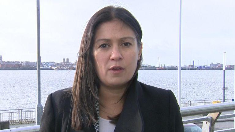 Lisa Nandy talkihg on Sky News after hustings.