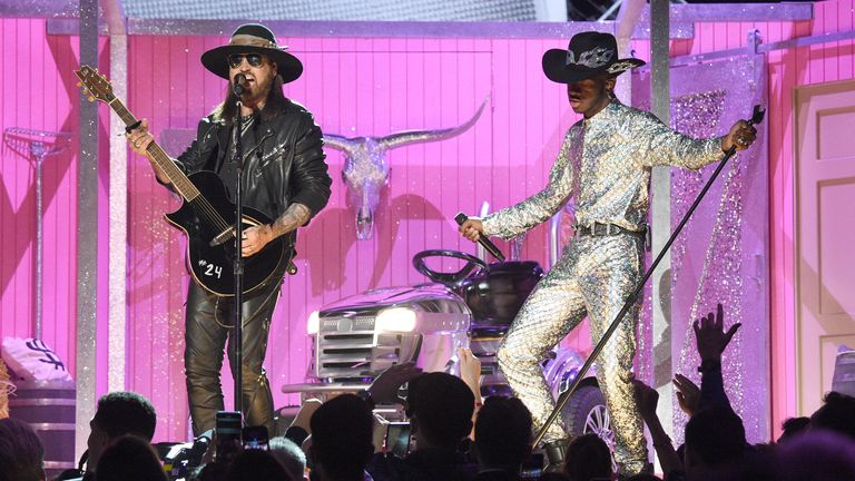 Lil Nas X and Billy Ray Cyrus perform at the Grammys 2020