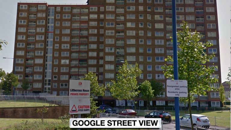 The woman fell from a flat at Little Cross House