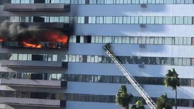 Eight people have been injured after a fire broke out in a high-rise Los Angeles residential building.