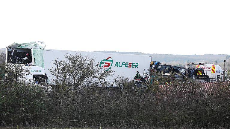 Mi1 crash. Pic: South Beds News Agency