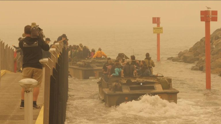 People were ferried away in amphibious craft called LARCS