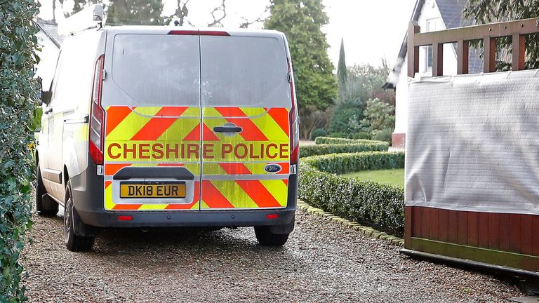 Police at the home of Chief Executive of Manchester United Ed Woodward, after the house was vandalised last night in Lower Peover, Cheshire