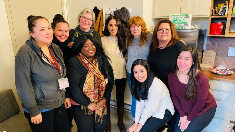 Meghan Markle with members of the Vancouver Downtown Eastside Women's Centre Pic: DEWC Vancouver