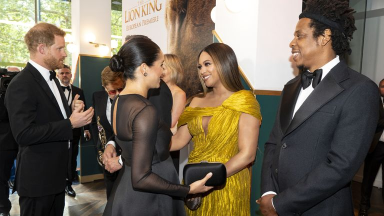 Prince Harry and Meghan met Beyonce and Jay-Z at the European Premiere of Disney's The Lion King in London