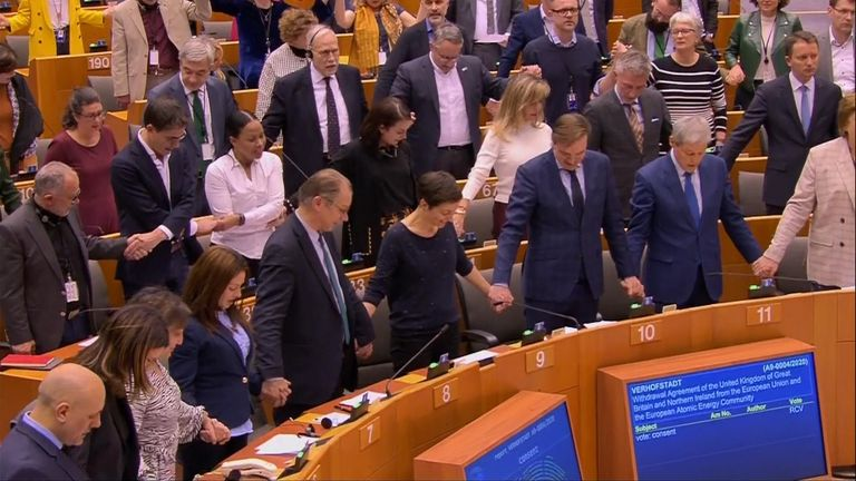 The European Parliament has given its final approval to the Brexit Deal and followed it with a rendition of Auld Lang Syne.