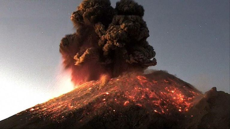 Mexico's Popocatepetl volcano erupted with a dramatic show of lava and rocks shooting from the crater and a column of smoke and ash rising into the sky.