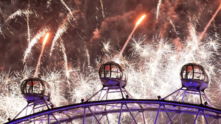 About 2,000 of the fireworks were fired from the London Eye