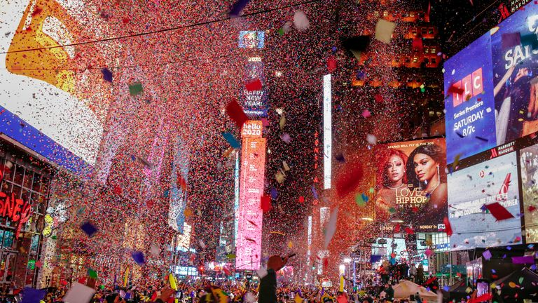 Revelers celebrate the New Year in Times Square