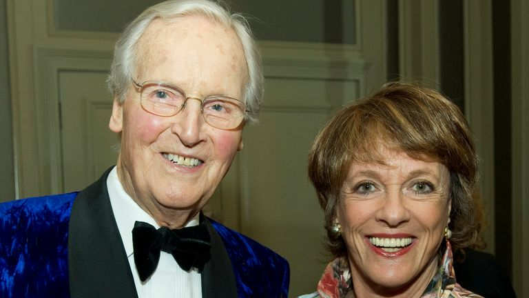 Nicholas Parsons and Esther Rantzen attend Nicholas Parsons 90th birthday party at the Churchill Hotel on October 8, 2013 in London