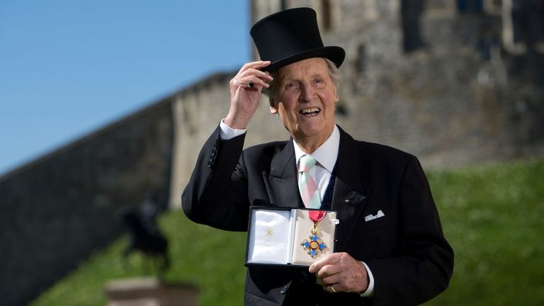 Entertainer Nicholas Parsons with his Commander of the Order of the British Empire (CBE) medal