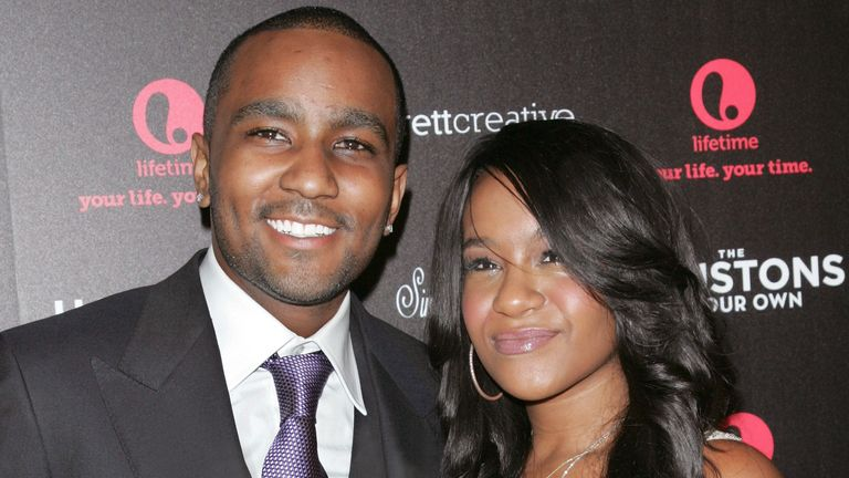"TV Personalities Nick Gordon and Bobbi Kristina Brown attend ""The Houstons: On Our Own"" Series Premiere Party at Tribeca Grand Hotel on October 22, 2012 in New York City"