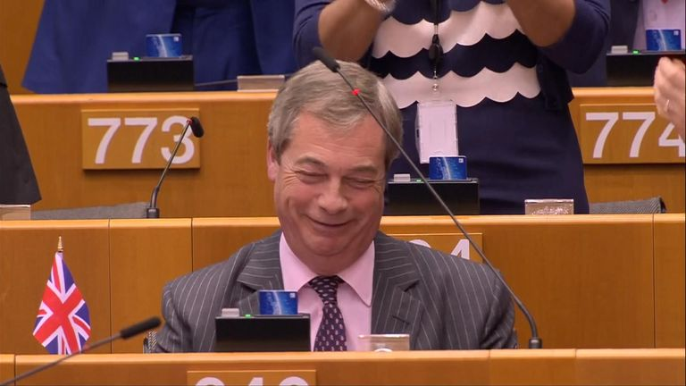 Nigel Farage was gagged during his last speech in Brussels as the Brexit Party leader waved a Union Flag to bid goodbye to the EU.