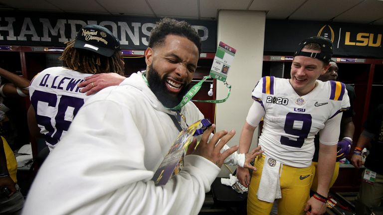 Beckham celebrated with LSU Tigers players after their championship win