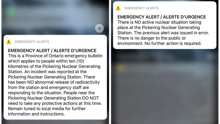 People in Ontario got sent an emergency alert warning of an incident at the Pickering nuclear power plant