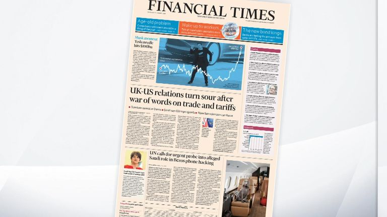 The front page of Thursday's Financial Times