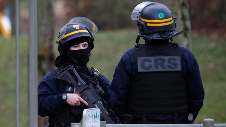 French police secure an area in Villejuif near Paris
