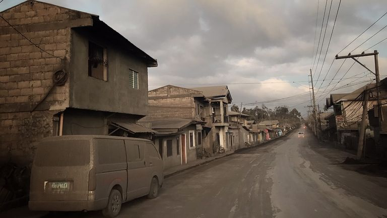 Streets near Lake Taal have become ghost towns