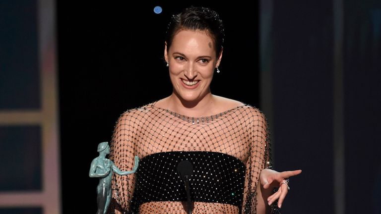 Phoebe Waller-Bridge accepts the award for outstanding performance by a female actor in a comedy series for Fleabag