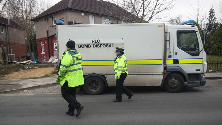 Police alongside a bomb disposal team searching houses in Bradford after a 38-year-old man was arrested on Friday.
