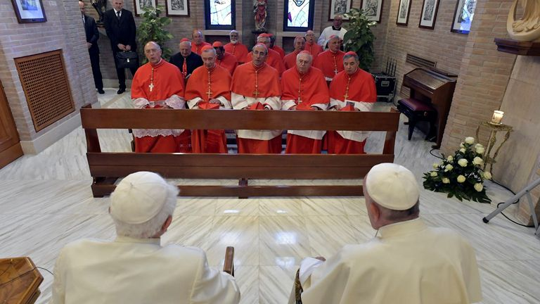 Pope Francis and Pope Benedict meet 14 new cardinals at the Vatican in June 2018
