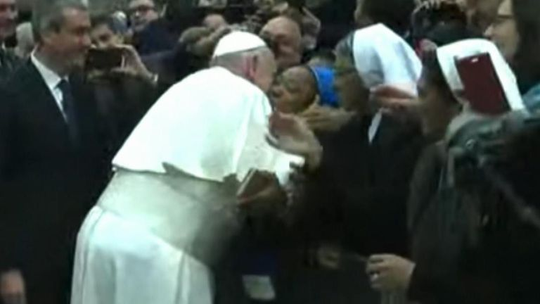 Pope Francis agrees to kiss a nun as long as she 'doesn't bite him'