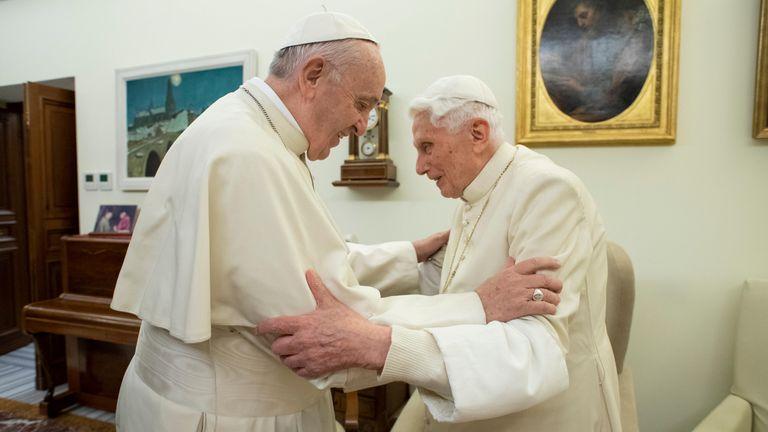 Pope Francis visits his predecessor in December 2018