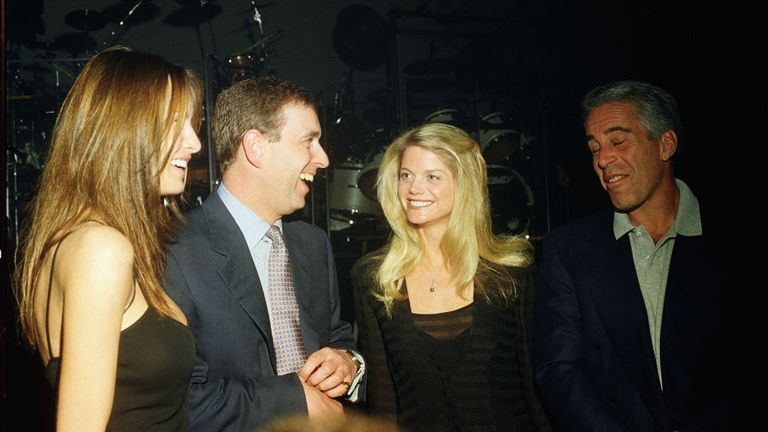 Melania Trump, Prince Andrew, Gewndolyn Beck and Jeffrey Epstein at Mar-a-Lago in February 2000