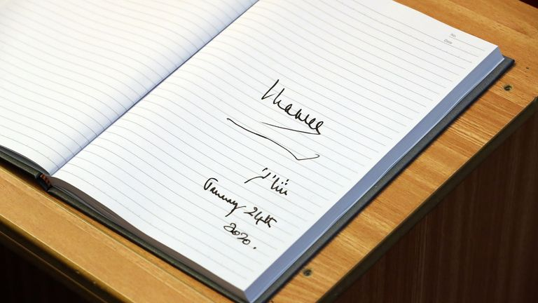 Prince Charles's signature in the mosque's visitor book
