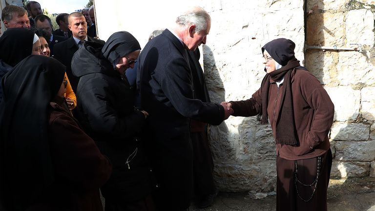 The royal visited an orchard to learn about Palestinian agriculture