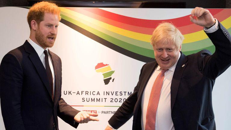 Prince Harry with Prime Minister Boris Johnson
